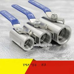 """Stainless Steel Ball Valve 1/2"""" inch NPT 1000PSI one piece W"""