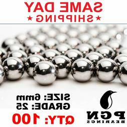 100 QTY - 6mm G25 Precision Chrome Steel Bearing Balls Chrom