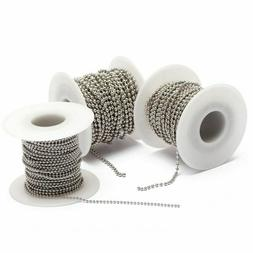 10m/Roll Beaded Ball Stainless Steel Chain Bulk For Necklace
