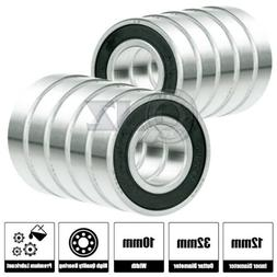 10x SS6201-2RS Ball Bearing 12mm x 32mm x 10mm Rubber Sealed