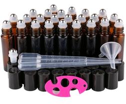 24, 10ml Amber THICK Glass Roller Bottles Big Steel Roll Bal