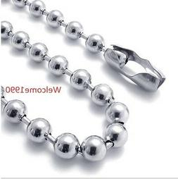 4-8mm Stainless Steel Shiny Round Beads ball Chain Necklace