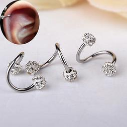 Fashion Twisted Surgical Steel Crystal Balls Nose Hoop Ring