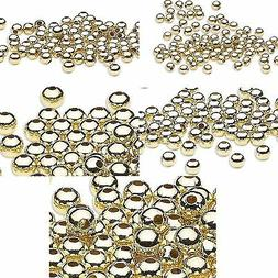 Lot of 100 Shiny Gold Finish Steel Metal Round Ball Spacer J