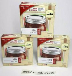 Lot of 3 Kerr Ball Regular Mouth Mason Jar Lids - Brand New