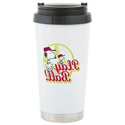 CafePress Play Ball Snoopy Stainless Steel Travel Mug Stainl