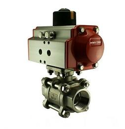 """Pneumatic Air Actuated Stainless Ball Valve 1/2"""" Inch Double"""