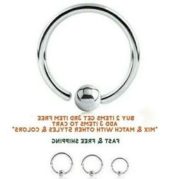 Surgical Stainless Steel Fixed Ball Captive Ring Nose Hoop 8